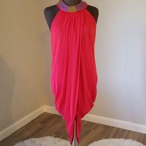 NWOT BCBG Aurora Sleeveless Draped Overlay Dress